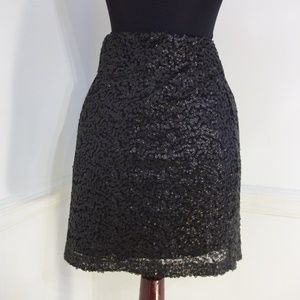 Bisou Bisou Black Sequined Skirt - NWT Size XSmall